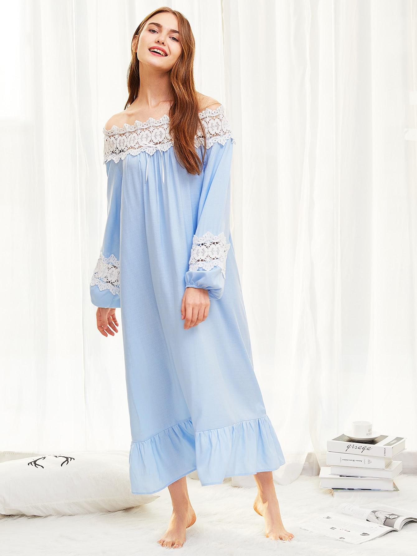Lace Insert Ruffle Hem Night Dress lace insert tiered ruffle hem blouse