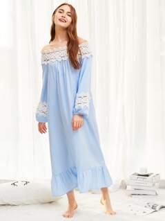 Lace Insert Ruffle Hem Night Dress