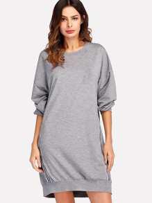 Contrast Striped Tape Side Sweatshirt Dress