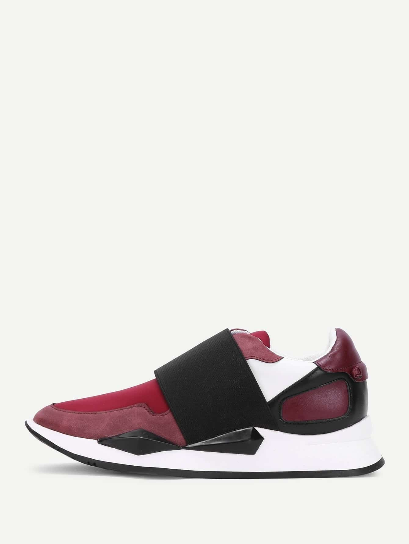 Two Tone Slip On Sneakers drop crotch loose two tone pants