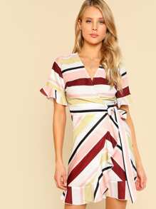 Knot Side Ruffle Trim Wrap Dress