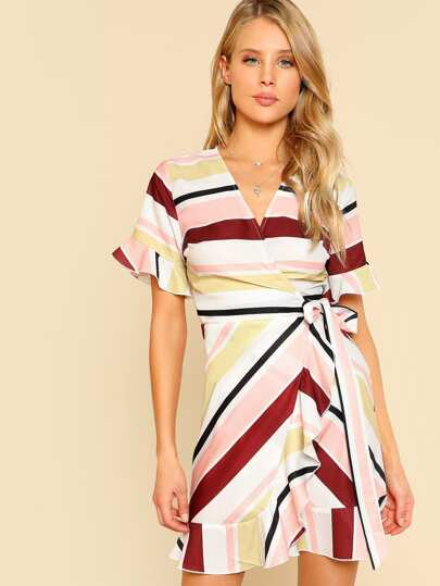 Knot Side Ruffle Trim Wrap Dress
