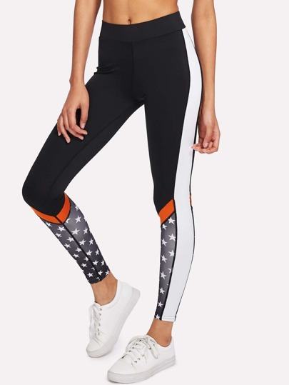 Contrast Panel Side Printed Leggings