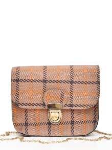 Pushlock Plaid Flap Chain Bag