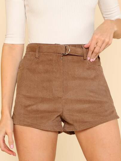 High Waisted Shorts With Elastic and Pockets COCOA