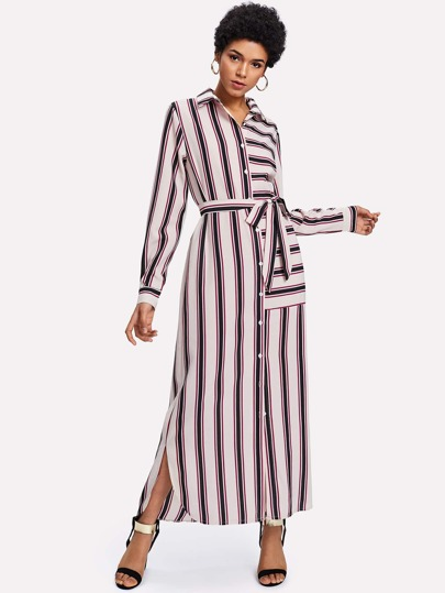 Self Tie Slit Side Striped Shirt Dress