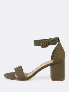 Cracked Detail One Band Ankle Strap Chunky Low Heels LIGHT OLIVE