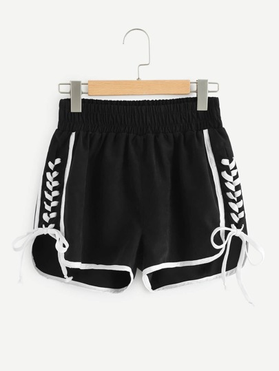 Contrast Binding Lace Up Side Dolphin Shorts
