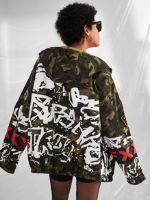 Letter Embroidered Patched Camo Jacket