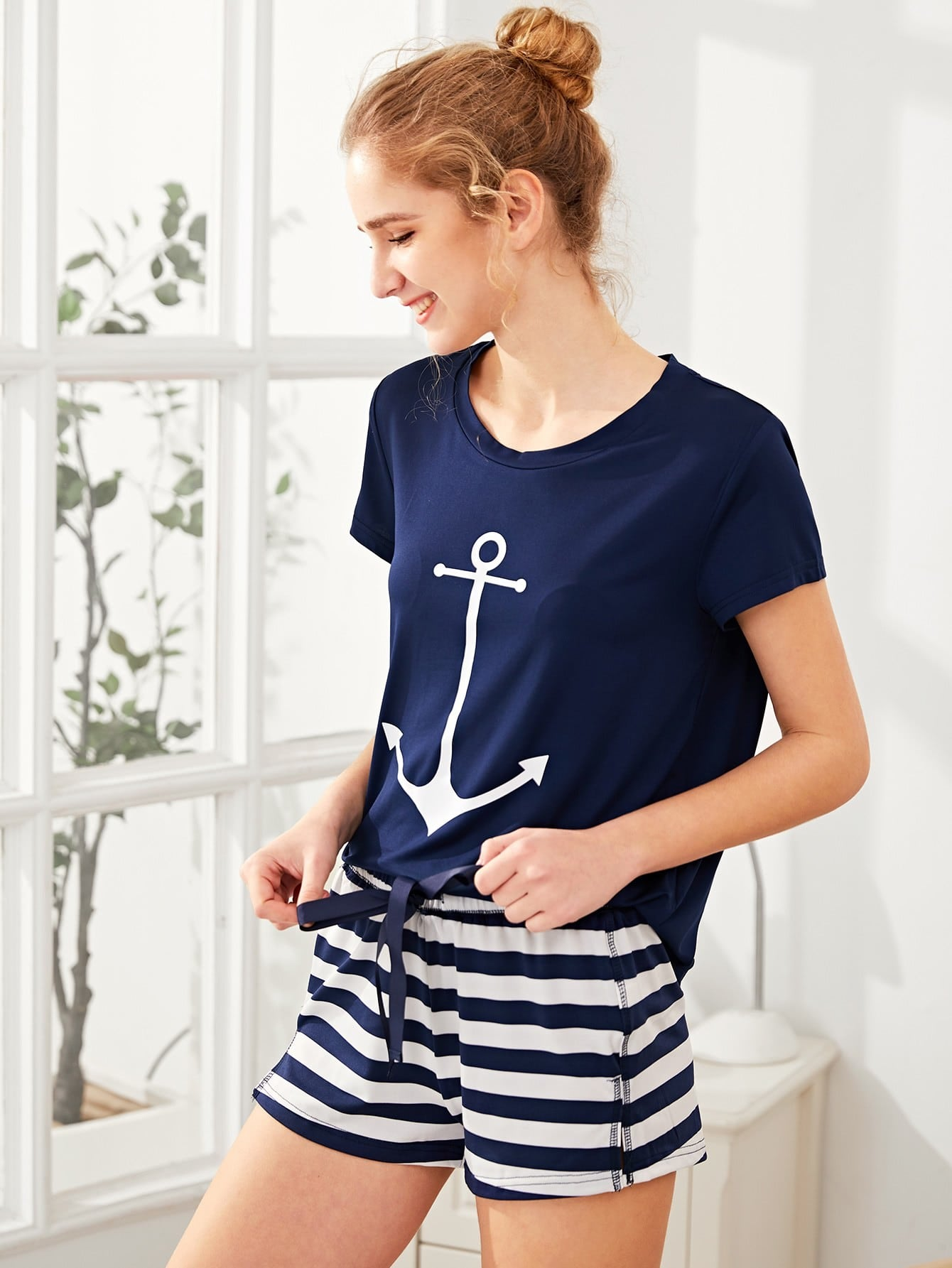 Anchor Print Tee And Striped Shorts Pajama Set heart print tee and striped shorts pajama set