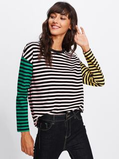 Drop Shoulder Two Tone Sleeve Striped Tee