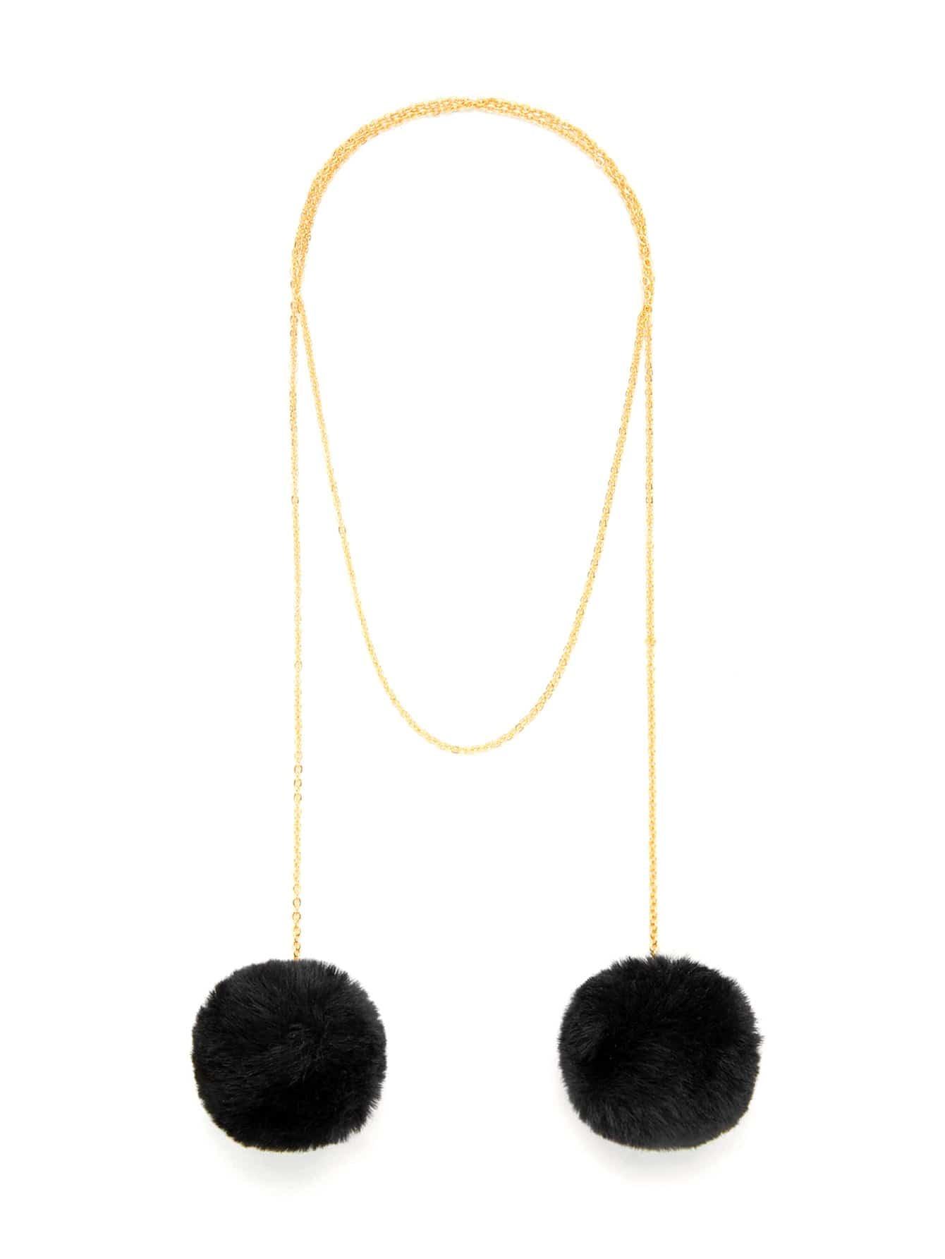 Double Pom Pom Detail Chain Necklace