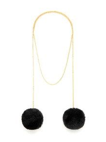Double Pom Pom Detail Chain Necklace