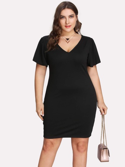 V Neck Flutter Sleeve Dress