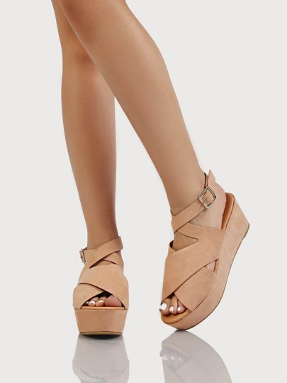 Thick Criss Cross Strappy Suede Wedge Sandal BLUSH