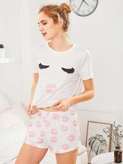Face Print Top And Red Lip Shorts Pajama Set