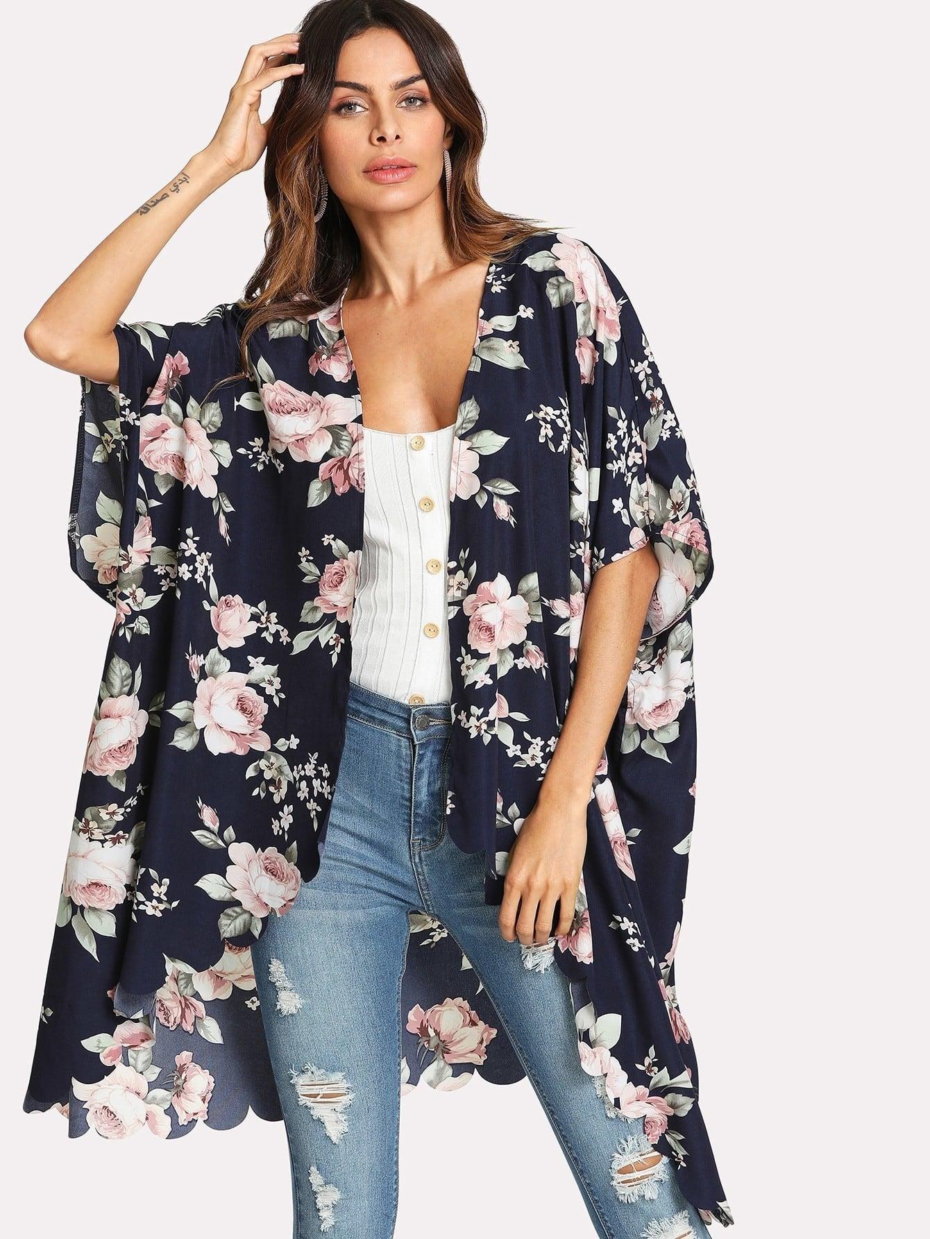 Купить Модное кимоно с фестонами и цветочным принтом, Andy, SheIn