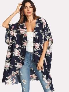 Flower Print Scallop Trim Kimono