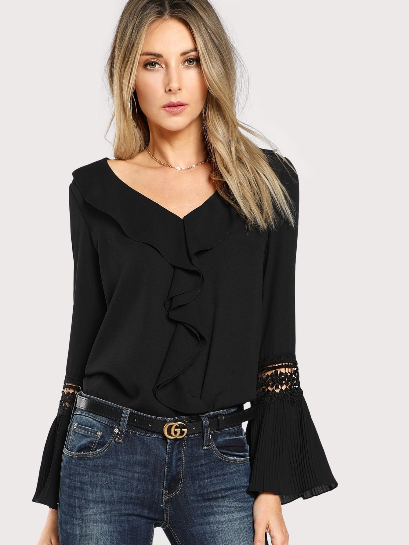 Ruffle Neck Lace Insert Pleated Cuff Top tiered pleated cuff solid top