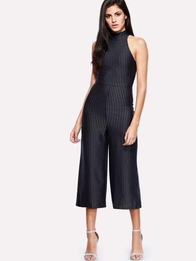 High Neck Striped Wide Leg Jumpsuit