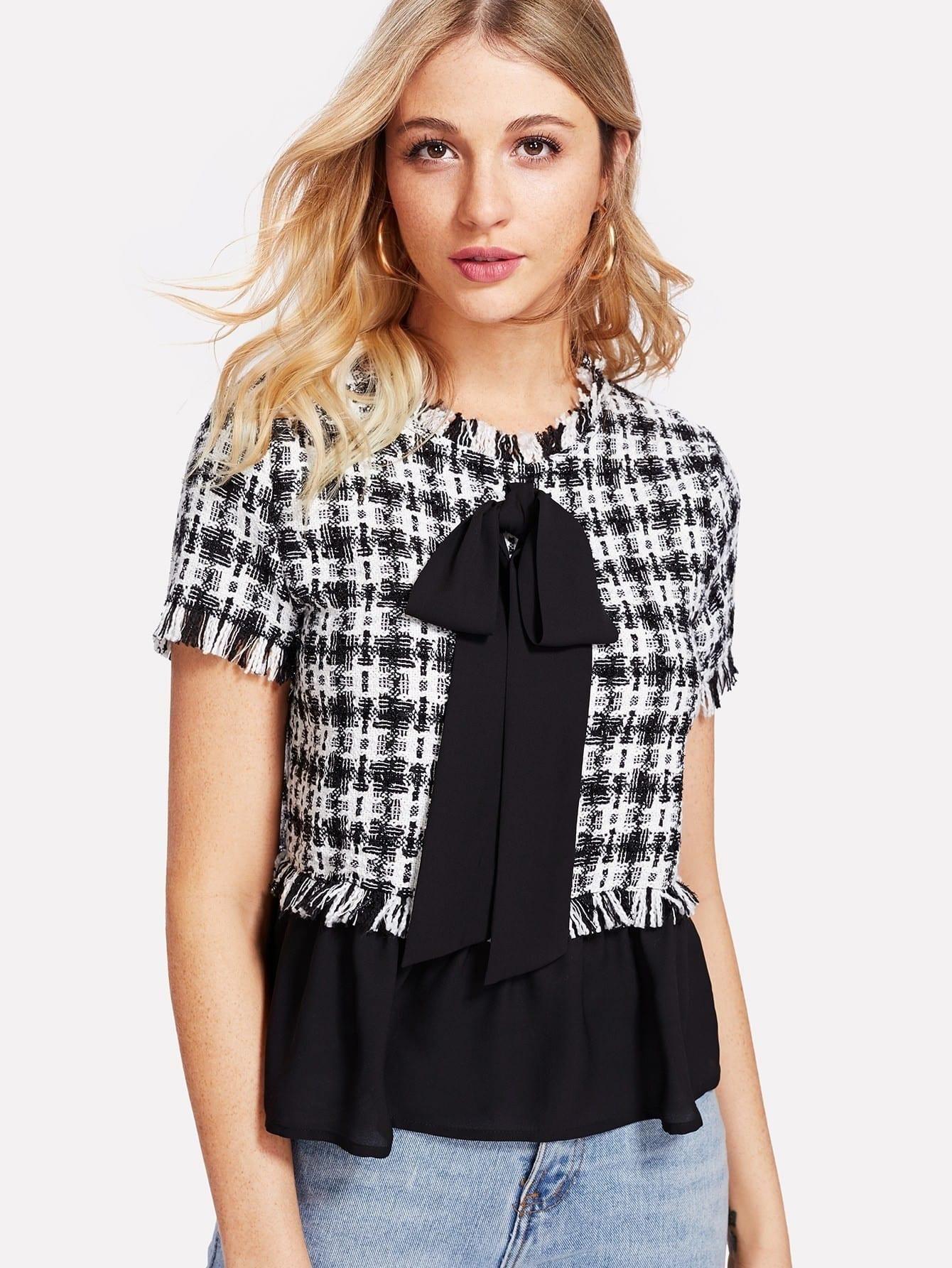 Contrast Bow And Hem Tweed Top contrast pleated sleeve frayed hem tweed dress