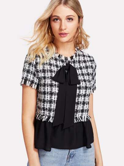 Contrast Bow And Hem Tweed Top
