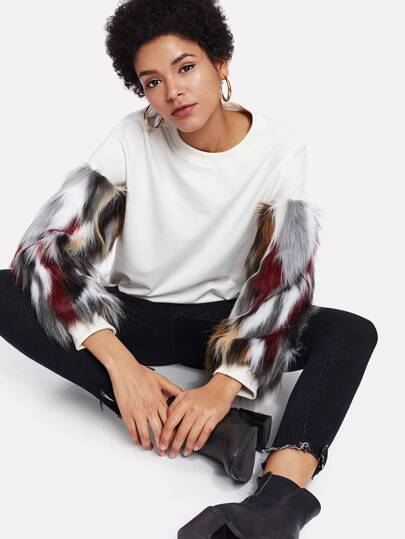 Contrast Faux Fur Sleeve Sweatshirt