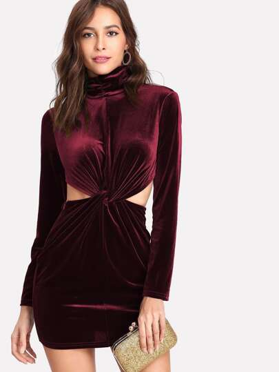 Twist Front Peekaboo Velvet Dress