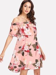 Flounce Off Shoulder Tropical Dress