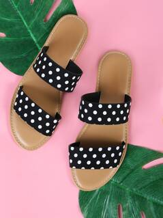 Polka Dot Double Banded Sandals BLACK