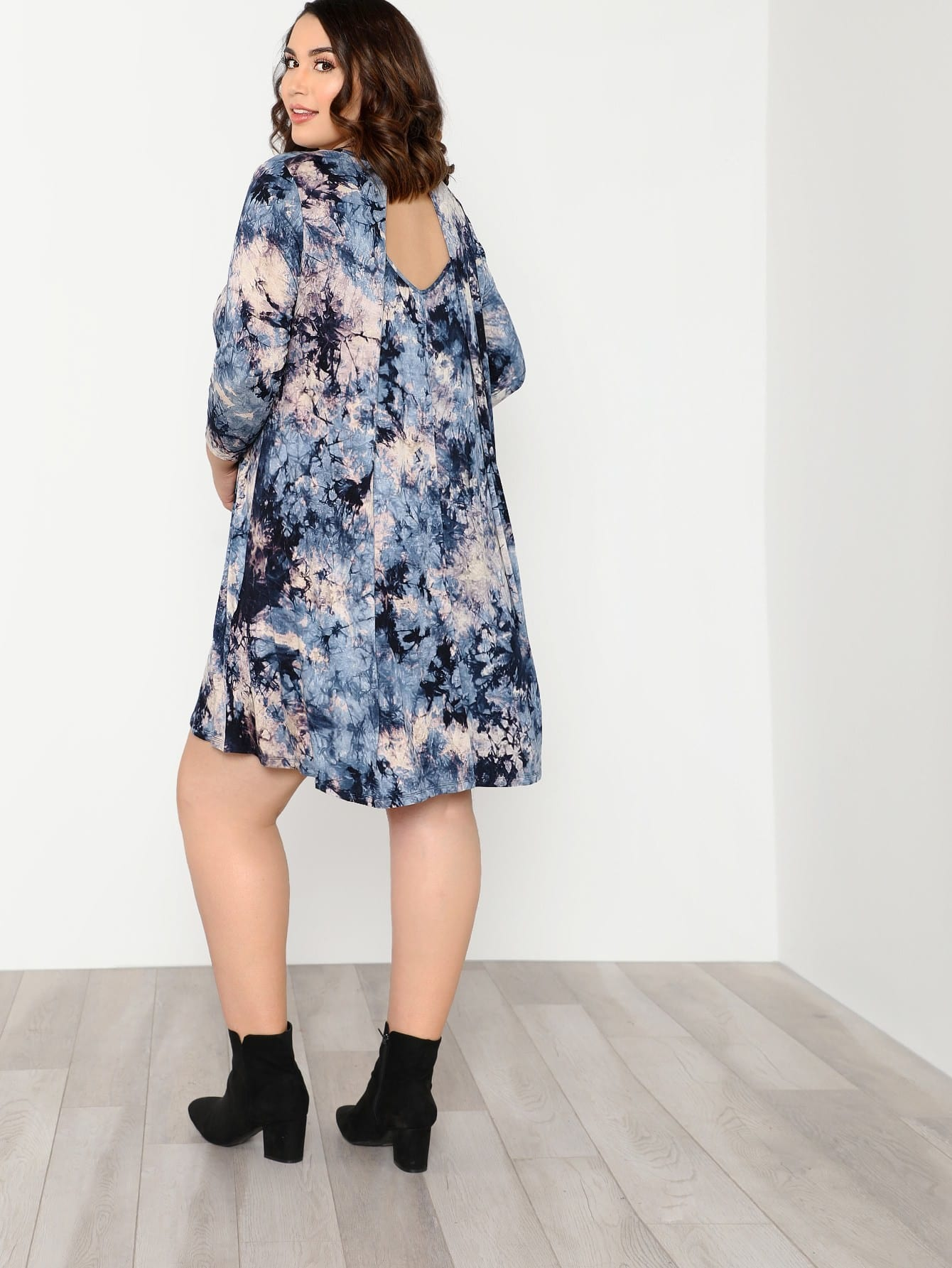 Plus Tie Dye Swing Dress чехол для складного ножа p fk