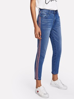 Striped Side Crop Jeans