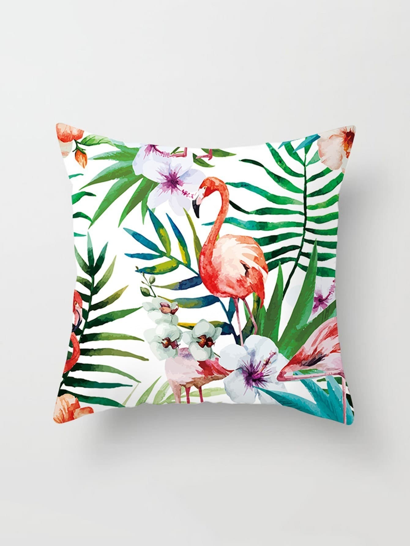 Flamingo & Palm Print Cushion Cover