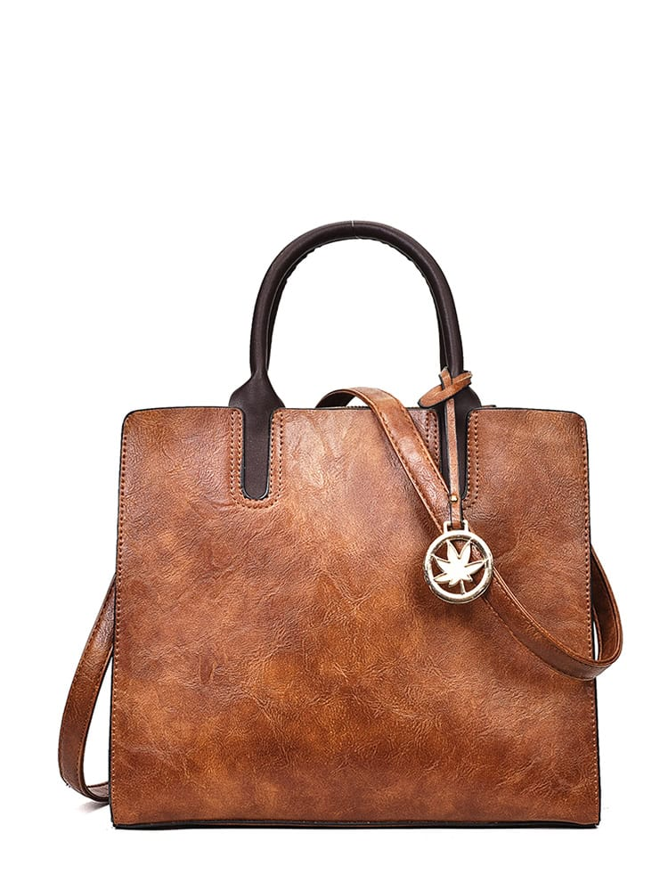 Distressed Tote Bag With Metal Charm кордщетка атака 22391
