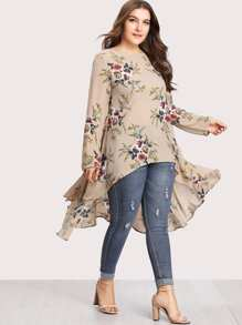 Plus Botanical Print Dip Hem Blouse