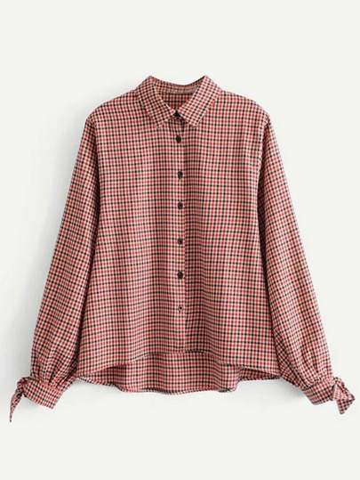 Tied Cuff Gingham Blouse