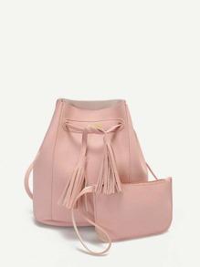 Tassel Drawstring Texture Bucket Bag With Clutch