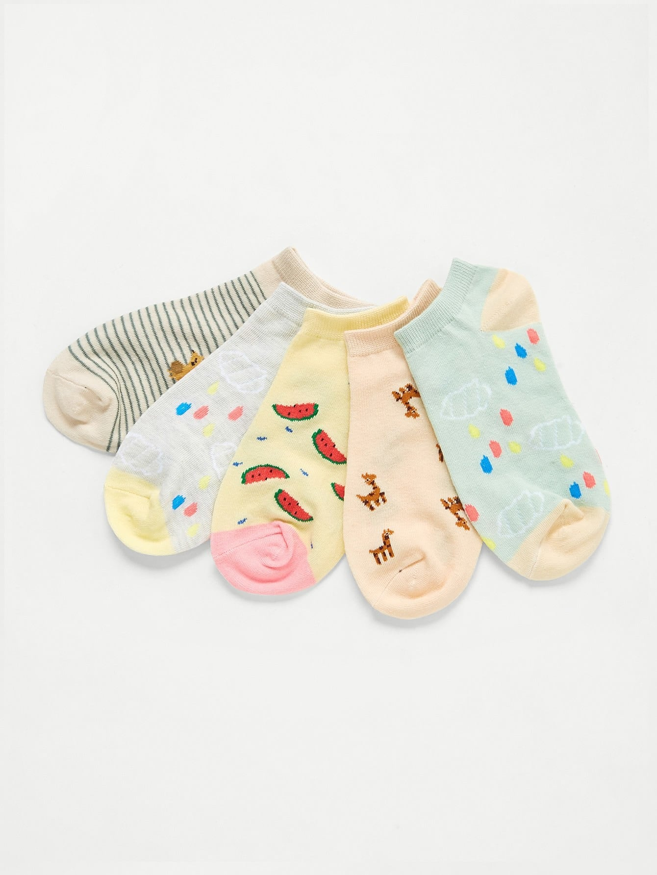 Cartoon Pattern Ankle Socks 5pairs letters pattern kintting ankle socks