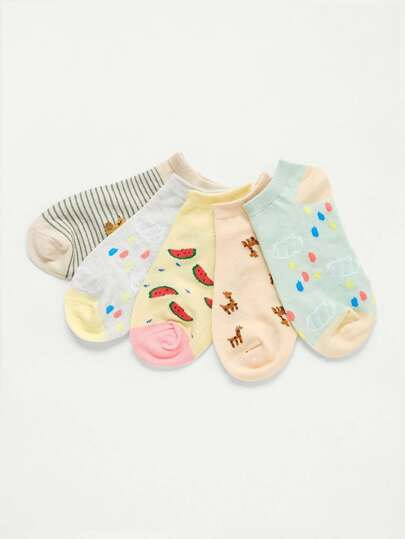 Cartoon Pattern Ankle Socks 5pairs
