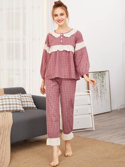 Contrast Lace Grid Top & Pants PJ Set