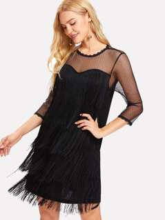 Tiered Fringe Front Dot Mesh Insert Sweetheart Dress
