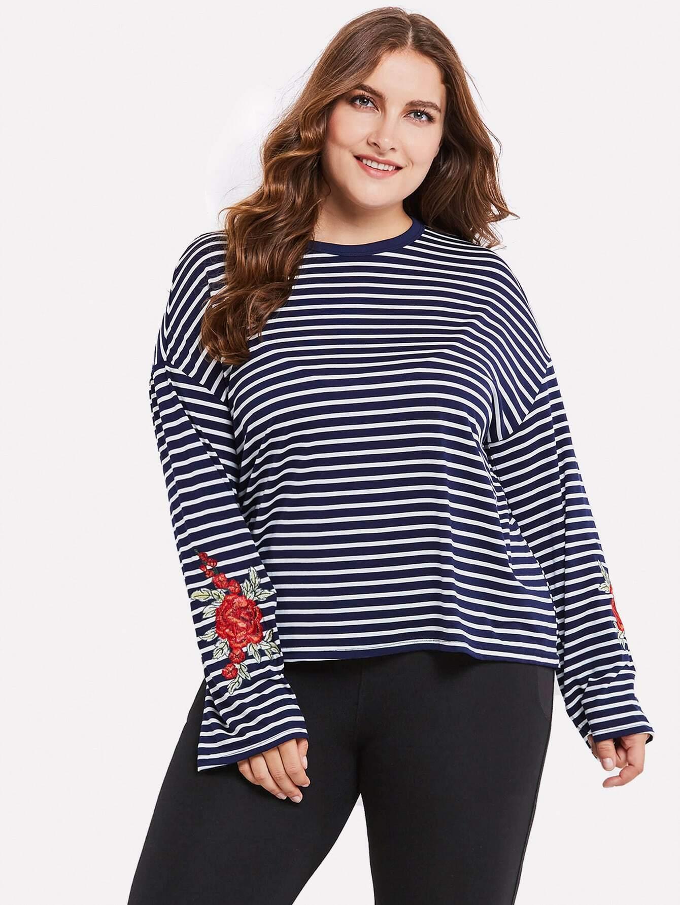 Plus Contrast Stripe Embroidery Tshirt striped longline tshirt