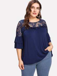 Floral Lace Yoke Solid Tee