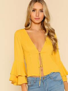Trumpet Sleeve Front Tie Top YELLOW