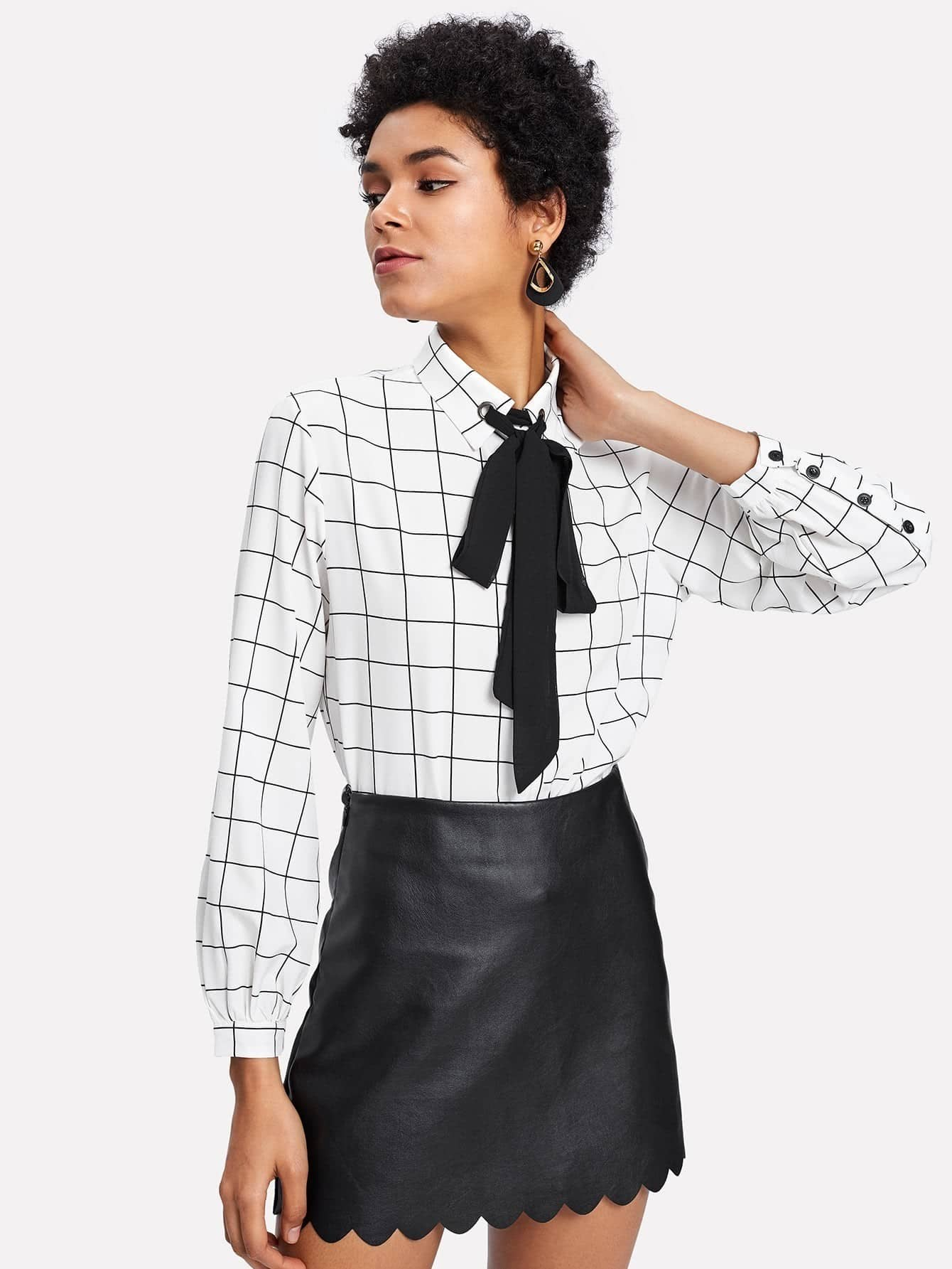 Contrast Tie Neck Grid Print Shirt чайник r 3l