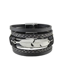Black Multilayer Blue Black Pu Leather Wrap Bracelets