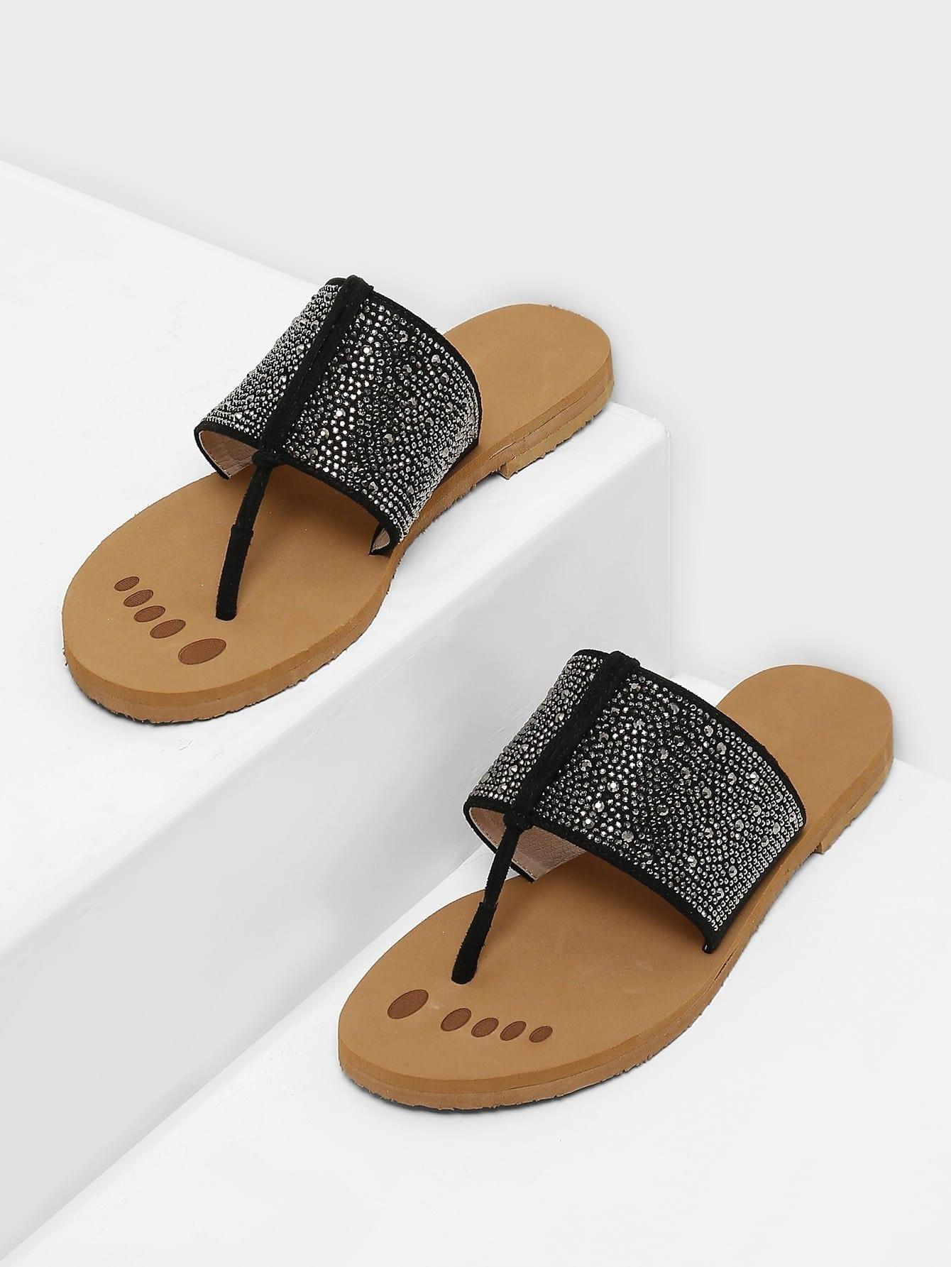 Beaded Detail Toe Post Sandals