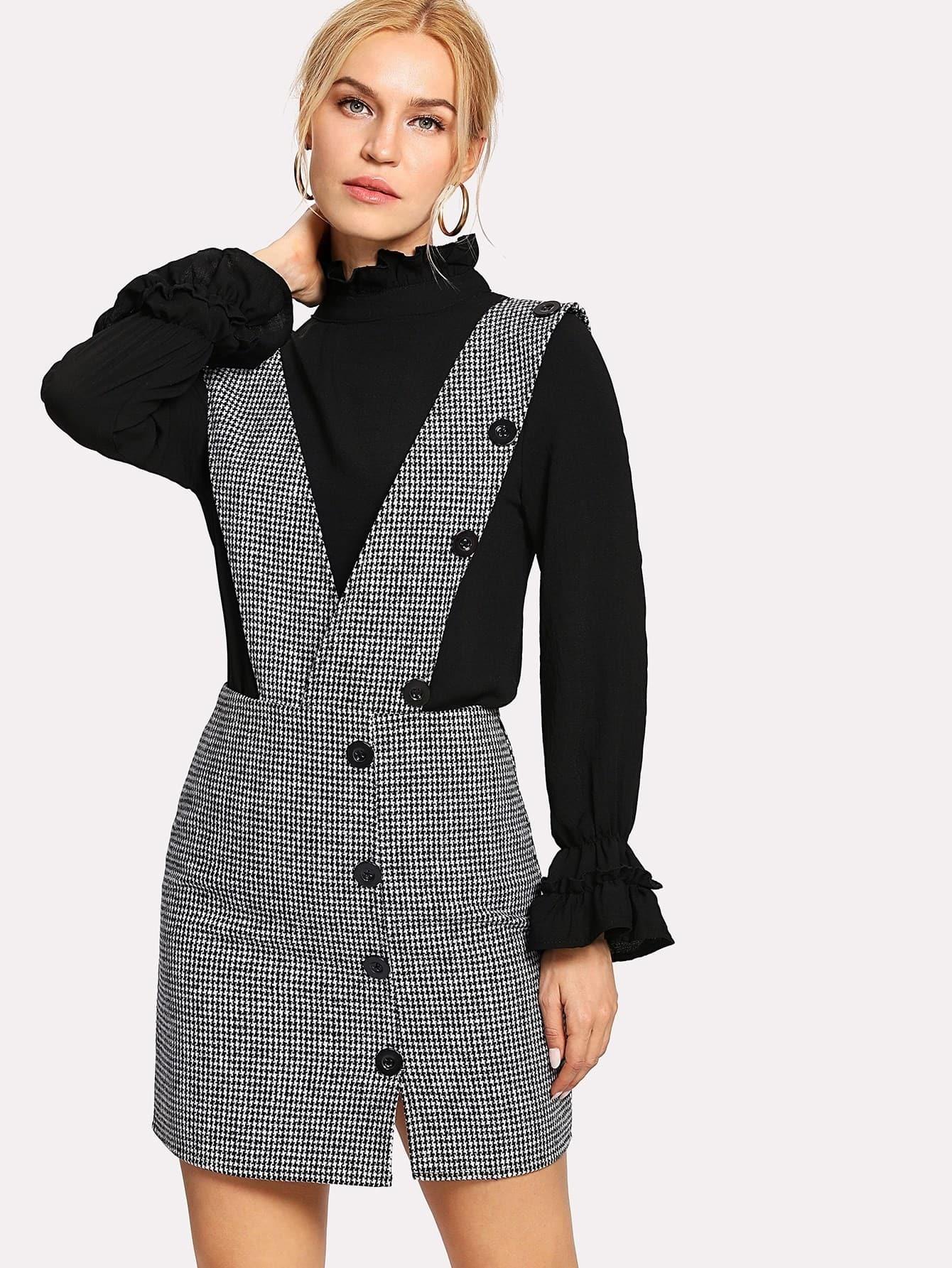 все цены на Button Houndstooth Pinafore Dress