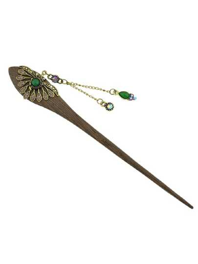 Purple Chinese Style Wood Hairpin