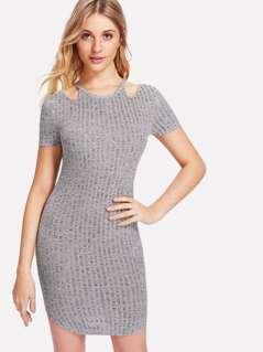 Cut Out Shoulder Ribbed Dress